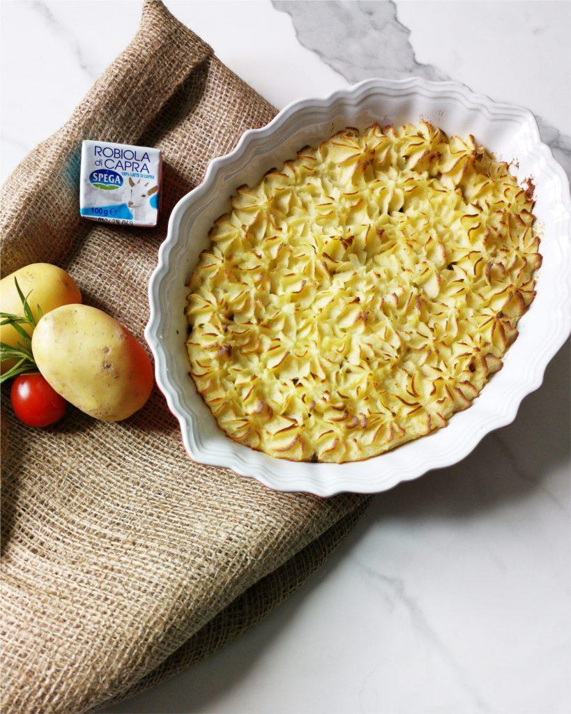 Pasticcio di patate e salsiccia con Robiola di Capra Spega